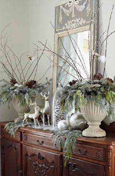 Silver and green holiday. I like the use of MIRRORS - regardless of the time of year. They can be propped on furniture and larger ones directly on the floor. They are not just for use above or on fireplace mantels.