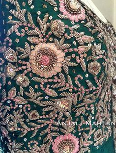 Cheap Silver Rings For Women Zardosi Embroidery, Embroidery On Kurtis, Hand Embroidery Dress, Kurti Embroidery Design, Embroidery Works, Couture Embroidery, Embroidery Suits, Embroidery Fashion, Hand Embroidery Designs