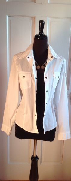 Ladies white shirt with snap front.  by BlkBttrflyDsgns on Etsy
