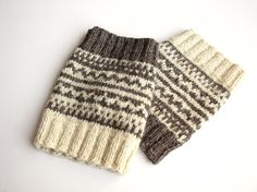 Hand Knitted Patterned Fair Isle Boot Cuffs  Boot by milleta, €16.00