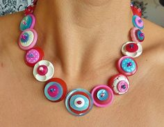 vintage button necklace  striking pink blue and white by wiggiewoo, £24.00