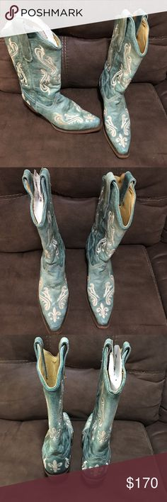 Corral Boots Corral boots in teal with white embroidery. Brand new without box! Tried on in the store and then never actually wore them. Perfect condition!!! Corral Shoes Heeled Boots