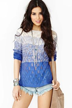 Nasty Gal Electric Dusk Knit - Blue $68