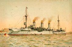 """""""S.M. Kleiner Kreuzer Gefion"""". Farblithographie nach Aquarell, 1899, von H.Graf."""