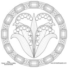 Lily Of The Valley And Emerald Mandala For May Transparent PNG Coloring Pages