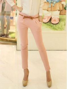 New Trendy Pink Long Pants With Belt