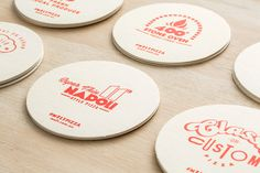 Beer mats and coasters for pizzeria Melt by Can I Play, Australia