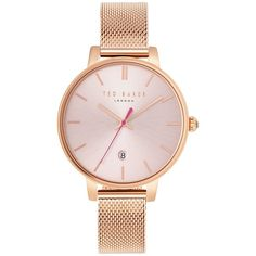 Ted Baker Women's Kate Date Mesh Bracelet Strap Watch (5.915 UYU) ❤ liked on Polyvore featuring jewelry, watches, accessories, stainless steel watches, ted baker watches, stainless steel wrist watch, water resistant watches and ted baker