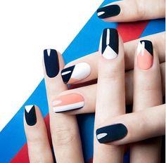 Geomerric color block nails