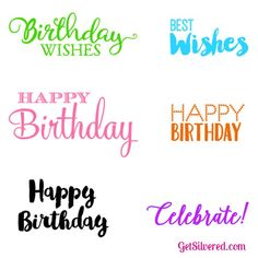 Print and Cut SVG Cutting Files for Birthday Card and General Card Sentiments.