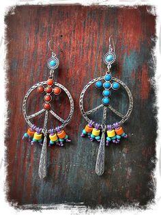 PEACE SIGN Earrings CROSS earrings Colorful Summertime di GPyoga