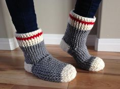 Looking for your next project? You're going to love Old Fashioned Work Sock Slipper Boot by designer Crystal Benoit.