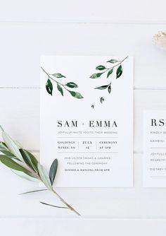 Minimal Leaf Wedding Invitation double sided printable