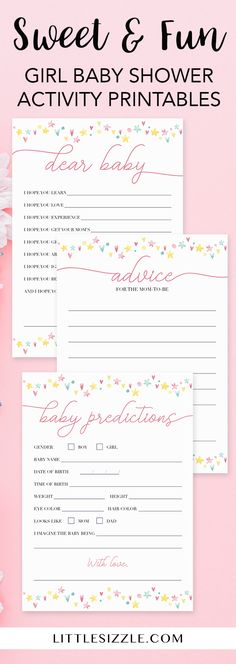 Girl baby shower activity printables by LittleSizzle. Click though to instantly download these sweet and fun pink games for your girl baby shower or re-pin for later! Pink and yellow rainbow baby sprinkle games. Girl shower baby wishes card, mommy advice card and predictions for baby. With these baby activities you wil create meaningful keepsakes for mom-to-be and lots of fun moments for all of your guests! #girlbabyshower #pink #pastel #rainbow #babyshowergames #babyshowerideas #printables…