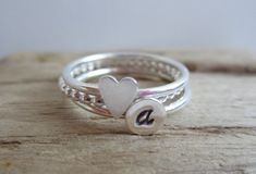 Personalized Heart & Initial Sterling Silver by aprilandjune