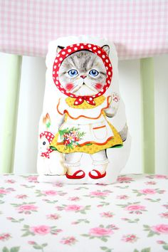 Cat Vintage Style Paper Doll / Cat cloth doll by babytogo on Etsy, $24.00