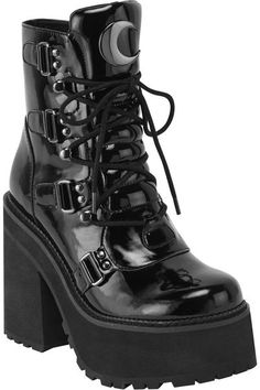 Broom Rider' boots come in a super-high gloss faux leather body - with crescent moon hardware, lace feature and high platform - giving you just the right amount of elevation Women's Shoes, Goth Shoes, Me Too Shoes, Shoe Boots, Shoes Style, Galaxy Converse, Grunge Shoes, Grunge Outfits, Style Grunge