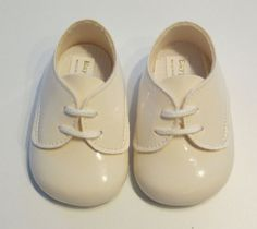 Baby boys ivory patent shoes by Baypods Style B010 ideal for Christening Weddings Pram Shoes or any special occasion Lace up baby boy shoes Made in