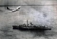 A Brazilian Air Force Boeing B-17 flying over the French escort vessel Tartu off the coast of Brazil during the Lobster War in 1963