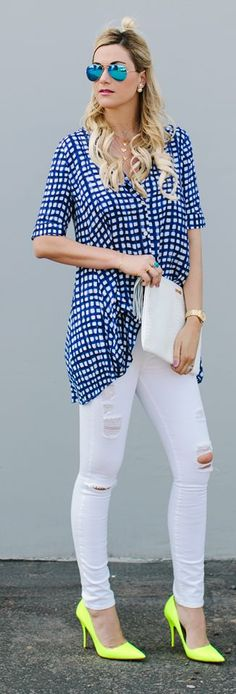 Blue Gingham Tunic Outfit