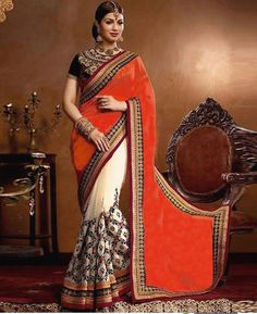 Orange and Black Embroiderd Designer Saree  Product Info : DS NO. : SN-38 PALLU : GEORGET SCUTT : GEORGET BLOUSE : BENGLORI SILK WORK : FANCY THREAD WORK TYPE : SAREES  Price : 1900 INR Only ! #Booknow  World Wide Shipping Available !  PayPal / WU Accepted  C O D Available In India ! Shipping Charges Extra  Stitching Service Available  To order / enquiry  Contact Us : 91 9054562754 ( WhatsApp Only )