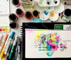 En este mes de la acuarela y estando en casa, disfruta el día pintando con las diversas formas que tiene la acuarela! Instagram, Home, Shapes, Watercolor Painting