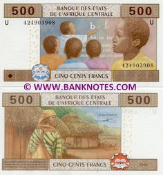 Cameroon 500 Francs 2002 Central African States -  Front: Classroom scene; youth. Reverse: African woman and straw huts. Watermark: Three antelope heads; BEAC. Printer: François-Charles Oberthür.