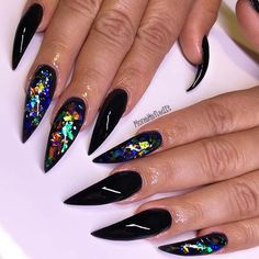 10 Bold Pointy Nails to Try: # Bold, Black Pointy Nails; 10 Bold Pointy Nails to. Gorgeous Nails, Love Nails, How To Do Nails, My Nails, Glam Nails, Pink Nails, Beauty Nails, Nail Swag, Long Black Nails