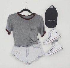 shorts grey white tumblr cute style converse t-shirt hat