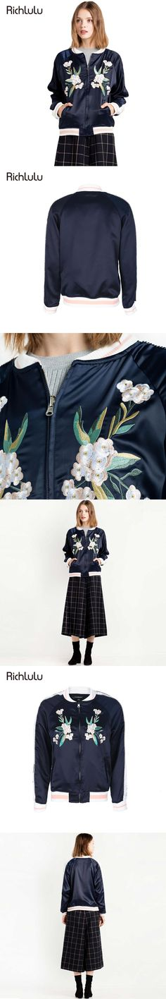 RichLuLu Women Fashion Bomber Jacket Blue Crew Neck Flower Embroidery Streetwear Casual Outwear Slim Basic Lady Coat