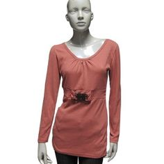 Allegra K Ladies Crimson Long Sleeve Pullover Shirt Round Neck Top XS Allegra K. $10.49
