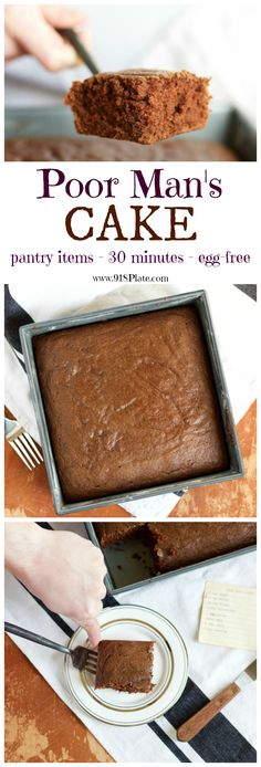 This chocolate cake is nostalgic, fast, egg-free, and is perfect with your favorite frosting. Poor Man's Cake (Egg-Free Chocolate Cake) | 918 Plate #eggfree #vegetarian