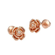 Rose Gold Tone Rose Screwback Girls Earrings ---> CHECK OUT ADDITIONAL INFO @: http://splendidjewelry4u.com/rose-gold-tone-rose-screwback-girls-earrings/
