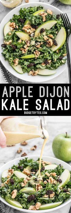 This Apple Dijon Kale Salad is tangy sweet and crunchy with Granny Smith apples walnuts raisins and a homemade Dijon vinaigrette. Healthy Recipes, Salad Recipes, Vegetarian Recipes, Cooking Recipes, Vegetarian Picnic, Simple Kale Recipes, Granny Smith, Ceviche, Superfood