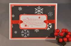 Black and White Hand Stamped Christmas Cards -  Assorted Holiday Cards (Set of 5). $16.00, via Etsy.