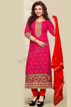Red Cotton Churidar Suit with Dupatta Design No. DMV7347 Price- £35.00 New arrival designer collection like Red Cotton Churidar Suit with Dupatta now in store. Embellished with Embroidered, Resham, Zari, Quarter Sleeve Kameez, Above Knee Length Kameez, Sweetheart Neck Kameez. This is perfect for Party, Wedding, Festival, Casual, Ceremonial. For More Details:- http://www.andaazfashion.co.uk/red-cotton-churidar-suit-with-dupatta-dmv7347.html