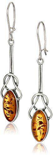 Sterling Silver Amber Celtic Knot Design Dangle Earrings ** Want additional info? Click on the image.