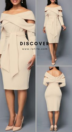 From the shoulder zipper back sheath dress.Special design on the shoulder, this . Latest Dress For Women, Latest African Fashion Dresses, Women's Fashion Dresses, Dress Outfits, Classy Dress, Classy Outfits, Stylish Outfits, Fall Dresses, Elegant Dresses