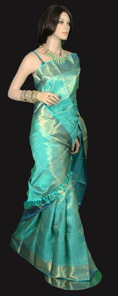 Sea Blue Grand Kanjeevaram Bridal and Wedding Saree