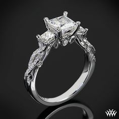 This 3 Stone Engagement Ring is from the Verragio Insignia Collection.