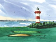 Harbour Town Lighthouse, Hilton Head  Watercolor prints and note cards of over 250 lighthouses all over the USA. Start your collection today. Original paintings by sailor/artist Alfred La Banca, Darien, CT