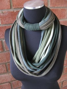 Bamboo Greens Repurposed Tshirt Cowl Scarf by CharteChic on Etsy