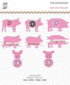 pig Monogram SVG DXF PNG eps decal animal pet nature Cut File for Cricut Design, Silhouette studio, Sure A Lot, Makes the Cut by SvgCutArt on Etsy