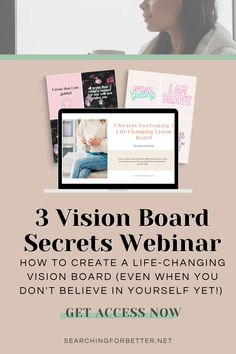 This webinar is full of ideas and examples on how to create a life changing vision board! It's full on inspo and DIY ideas as well as powerful goal-setting questions! Personal Goal Setting, Creating A Vision Board, Goal Quotes, Board Ideas, Life Changing, Law Of Attraction, Believe In You, Happy Life, Find Image