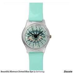 Beautiful Abstract Dotted Blue Eye Watches $45.35