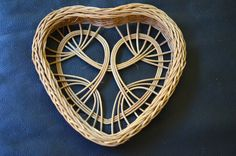 Woven Wicker Heart Wall Hanging Basket - Smoked Reed