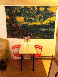 Apartment decorations #tapestry #candles #ikea
