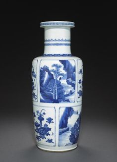 A blue and white rouleau vase, Kangxi period