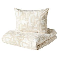 IKEA - VINTERJASMIN, Quilt cover and pillowcase, white, beige, Made in cotton - a natural and durable material that becomes softer with every wash. Ikea Family, Beige, Quilt Cover Sets, Bed Pillows, Pillow Cases, Accent Chairs, Two By Two, Indoor, Furniture