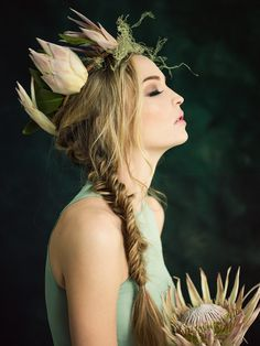 Love the makeup look, fishtail braid and crown! Protea flower crown inspired by Max from Where the Wild Things Are by Elizabeth Wyrick.  Photo cred: Jamie Beck